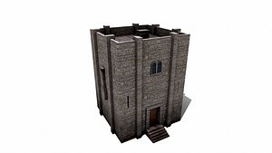 Stone Watch Tower 3D model