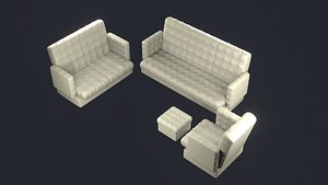 3D model white leather sofa set