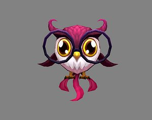 Cartoon bird - owl 3D model