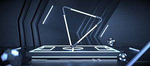 Science fiction high-end science and technology stadium products triangle space e-commerce geometric 3D model