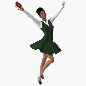 3D Light Skin Black Teenage Girl in School Uniform