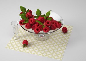 Mulberry fruit grape fruit plate fruit realistic 3D model