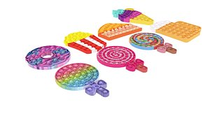 3D Food Pop It Fidget Toys Set model
