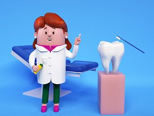 3D Cartoon female doctor nurse dental doctor dental surgery table IP image woman red hair personality model