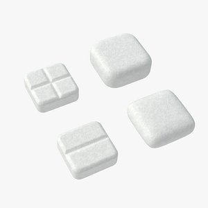 3D model Set of square shaped pills with 4K PBR tex and color variations