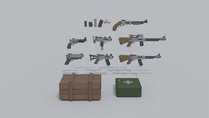 cartoon militray weapon kit 3D model