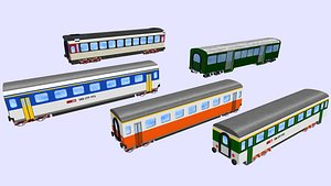 collection of 5 swiss rail passenger wagons 3D model