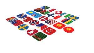 Flags Pop It Fidget Toys Set 3D model