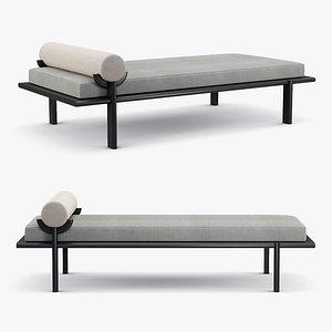 Vonnegut Kraft - Black crescent lounge daybed 3D model