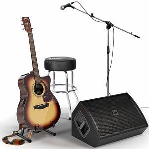 guitar set stage 3D model