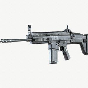 3D FN SCAR 17S PBR Worn Low-poly model