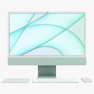 Apple iMac 24 inch 2021 Green All Set 3D model