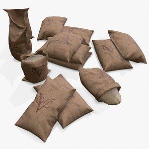 3D sack bag coffee model