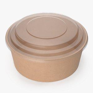 kraft paper food bowl model