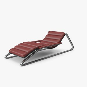 3D Red Leather Sun Lounger
