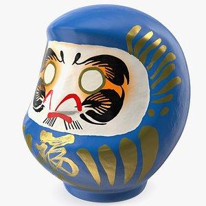 Traditional Japanese Daruma Doll Blue 3D model