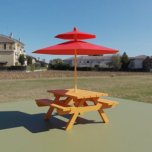 summer picnic table 3D