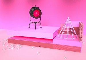 Floor light spot light stage light hand-held photo light C4D spot light stage light concert light se 3D model