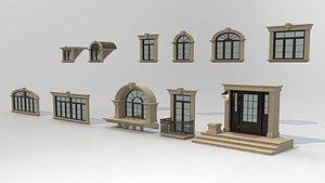 3D Windows Door Set model