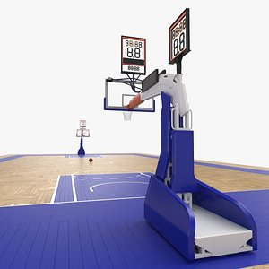 3D Basketball Court and Baskets 04