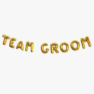 3D Foil Baloon Words Team Groom Gold model