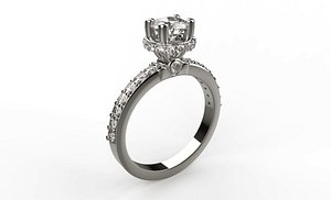 Solitaire ring 2021-001 3D model