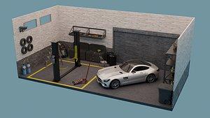 Car Garage with Tools 3D model