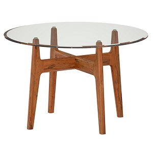 Tate Round Dining Table with Glass Top and Walnut Base 3D