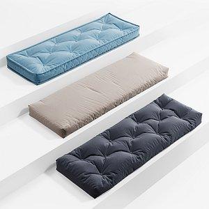 3D model window seat cushions