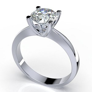 3D solitaire diamond ring cad