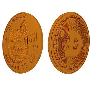 dogecoin coin 3D model
