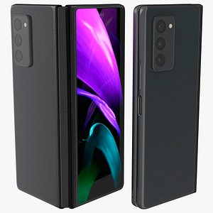 Samsung Z Fold 2 Black Rigged 3D model