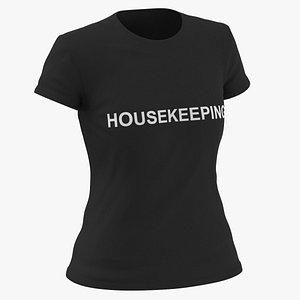 3D Female Crew Neck Worn Black Housekeeping 03