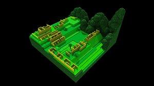 3D Machu Picchu Low Poly Isometric model