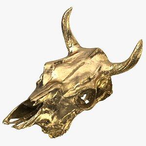 Gold Cow Skull 3D model
