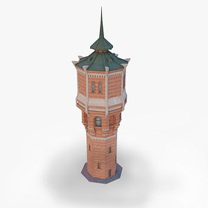 The water tower is large brick Industrial building 3D