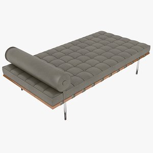 Knoll Brown Leather Barcelona Couch 3D model