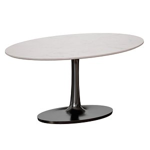 Nero Oval White Marble Top Table with Matte Black Base 3D model