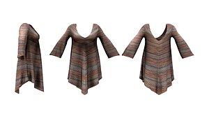Long Sleeve Hem Triangle Dress model