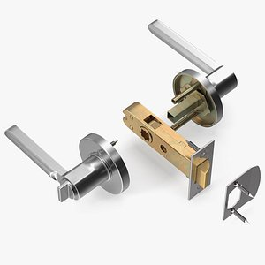 Passage Door Lock with Handle Silver 3D