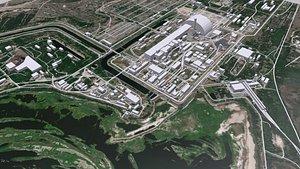 3D model cityscape nuclear power plant