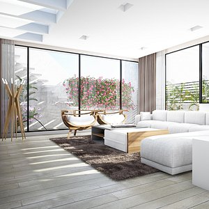 3D White Two Story Living And Bed Room Interior In A Residence