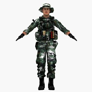 3D pla chinese soldier