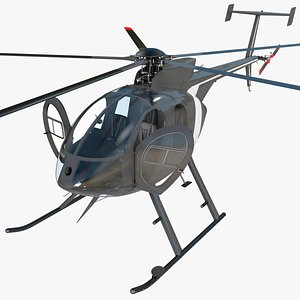 utility civilian helicopter rigged 3D model