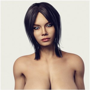 3D model Naked Busty Woman - Fully Rigged