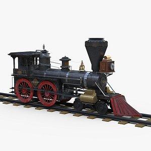 3D vintage classic steam locomotive