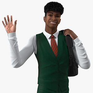 3D Black Teenager Light Skin School Uniform Rigged