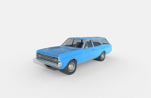 3D Low Poly Car - Opel Rekord Caravan 1967 model