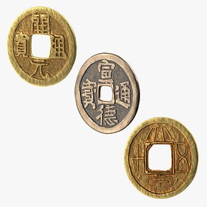 Ancient China Coins Collection model