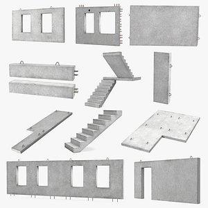 Precast Concrete Panels Big Collection 3D model